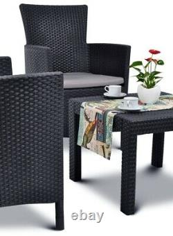 Rattan Garden Furniture Set 3 Pieces Chairs Table Cushions Outdoor Patio Balcony