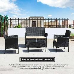 Rattan Garden Furniture Set 4 Piece Chairs Sofa Table Outdoor Patio Seater Set