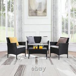 Rattan Garden Furniture Set 4 Piece Sofa Chairs Table Outdoor Patio Conservatory