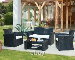 Rattan Garden Furniture Set 4pc Outdoor Table Chair Sofa Conservatory Patio