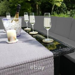 Rattan Garden Furniture Set Black Sofa Table Stools Patio Dining With Pizza Oven