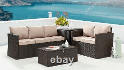 Rattan Garden Furniture Set Outdoor Sofa Conservatory Patio Set Storage Tables
