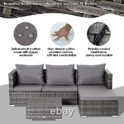 Rattan Garden Furniture Sofa Patio Conservatory Wicker withCushion 4-Seater Grey