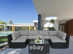 Rattan Garden Furniture U Corner Sofa Set Black Outdoor Patio Coffee W Cushions