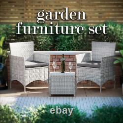 Rattan Garden Love Seat 2 Seater Couples Set Table Outdoor Patio Furniture Grey