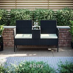 Rattan Garden Love Seat Twin Chair Couples Outdoor Patio Furniture Bench Black