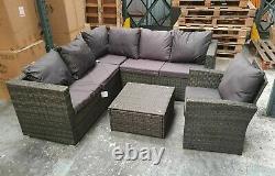 Rattan Garden Outdoor Furniture Patio Corner Sofa Set Grey Table Chair X-Display