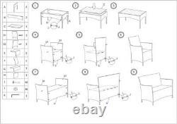 Rattan Garden Patio Furniture 4PC Set Outdoor-2 Chairs1 Sofa & Table UK SELLER