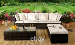 Rattan Garden Patio Furniture Outdoor 4 Piece Set Sofa, Ottoman, Coffee Table