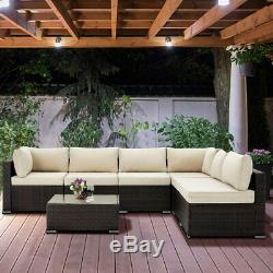 Rattan Garden Sofa Furniture Set Patio Conservatory 6 Seater Armchairs + Table