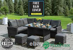 Rattan Outdoor Garden Furniture Set Corner Sofa Dining Table 3 Stools Patio Grey