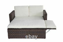 Rattan Outdoor Garden Sofa Furniture LoveBed Patio Sun bed Brown With cover