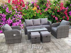 Rattan Recliner Wicker Garden Outdoor Table And Chairs Furniture Patio Set Grey