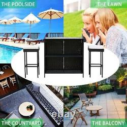 Rattan Wicker Garden Furniture 3 Set Stool Bar Table Patio Outdoor Conservator