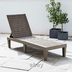 Resin Recliner Sun Lounger Day Bed Chair Outdoor Garden Patio Furniture