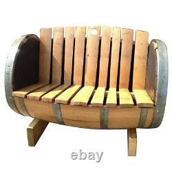 Rustic Solid Oak Refurbished Whisky Barrel Garden Bench Vintage