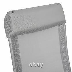 Set 4 Aluminium folding garden chairs outdoor camping patio furniture silver new