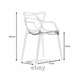 Set Of 4 Masters Chairs in clear inspired kartell Style Modern Retro Dining