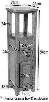 Slim Oak Corner Cabinet Small Wooden Bathroom Cupboard/Tower Bedside Table