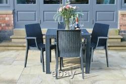 Stackable Rattan Garden Table & 6 Chairs Set Grey Outdoor/indoor Patio Furniture