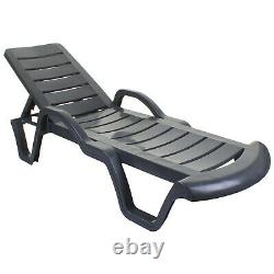 Sun Lounger Outdoor Garden Patio Relaxer Anthracite Grey Recliner Bed Furniture