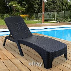 Sun Lounger Outdoor Garden Patio Relaxer Grey Rattan Reclining Bed Furniture NEW