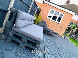 Two Grey Indoor/Outdoor Rustic Patio Garden Pallet Furniture Chairs