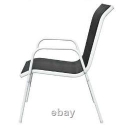 VidaXL 4x Stackable Garden Chairs Steel and Textilene Black Patio Dining Chair