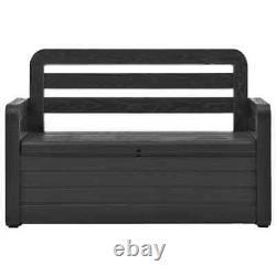 VidaXL Garden Storage Bench Plastic Anthracite Patio Outdoor Cushion Deck Box