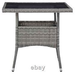 VidaXL Outdoor Garden Yard Dining Table Grey Poly Rattan and Glass Furniture