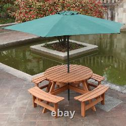 Wooden 8 Seater Garden Furniture Set Round Table & 4 Benches Seats Outdoor Patio