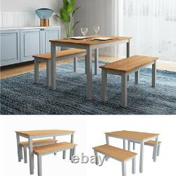 Wooden Dining Table & 2 Bench Chairs 4 Seat -Garden Patio Restaurant Furniture