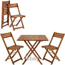 Wooden Furniture Set Balcony Patio Folding Table Chairs Terrace Outdoor Garden