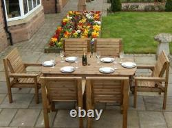 Wooden Garden Furniture Patio Set 6ft Table & 6 Chairs Fully Assembled