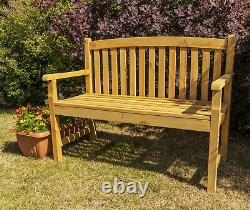 Woodside Outdoor Wooden 2 Seater Bench Garden Patio Furniture